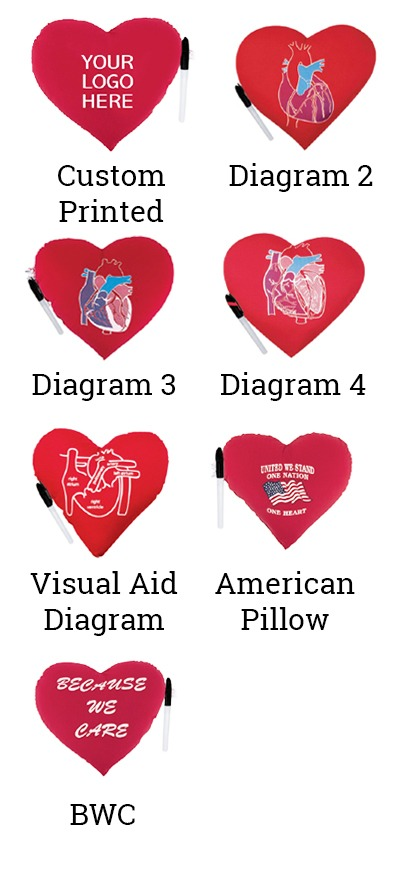 Original Heart Pillow Diagram Showcasing Seven Different Version Of The Therapeutic Pillow